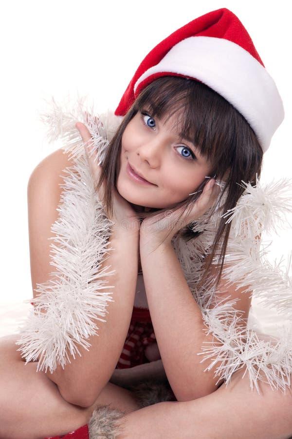 Девушка в шляпе рождества стоковые фотографии rf