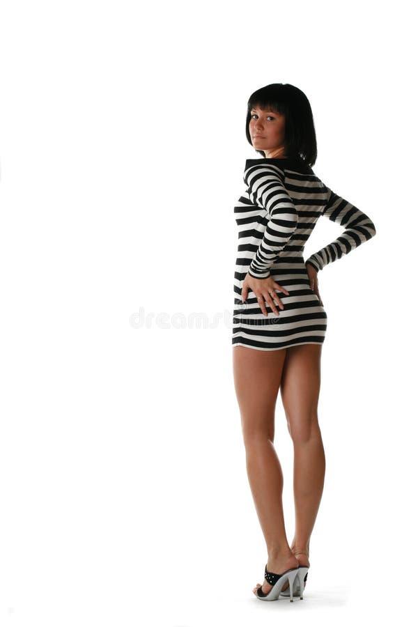 Девушка в striped платье стоковая фотография