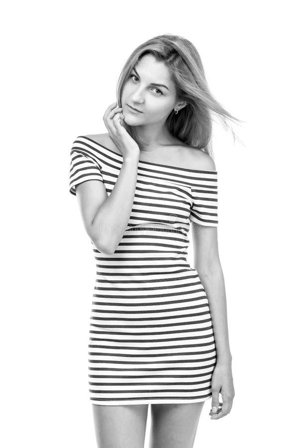 Девушка в striped платье стоковые фотографии rf