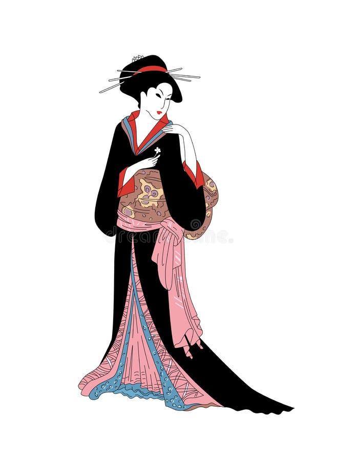 Девушка гейши с цветком Красивые японские женщины в национальном платье иллюстрация вектора