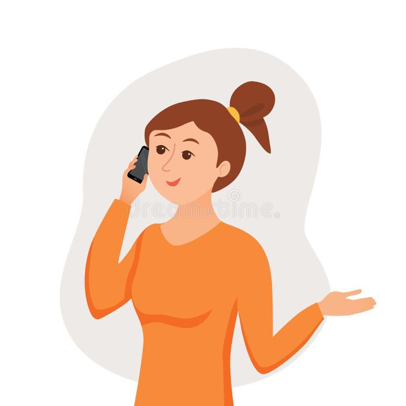 Девушка говоря используя ее смартфон держа в ее руке иллюстрация вектора