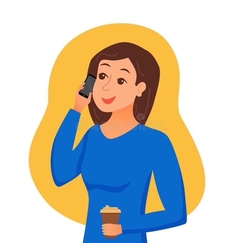 Девушка говоря используя ее смартфон держа в ее руке иллюстрация штока
