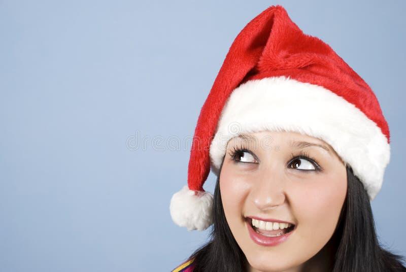 девушка головной смотря santa косой стоковые фото