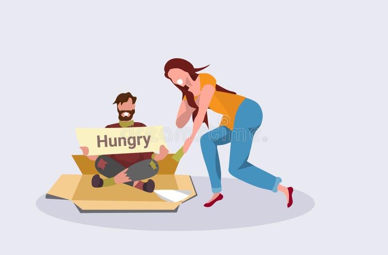Девушка давая деньги бедному человеку сидя на картоне умоляя для концепции доски знака удерживания попрошайки помощи бездомной иллюстрация штока