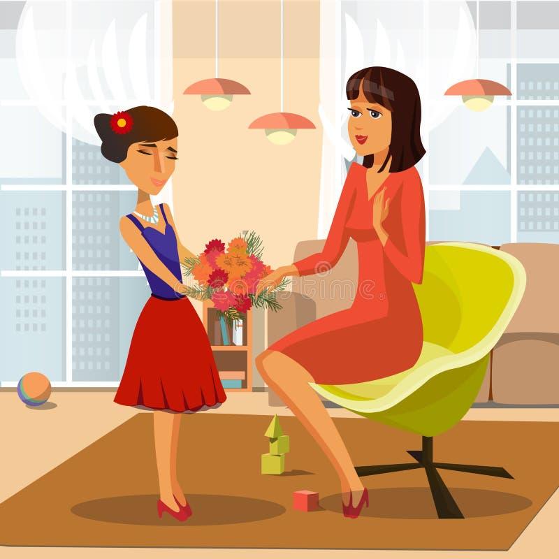 Девушка давая пук иллюстрации вектора цветков бесплатная иллюстрация