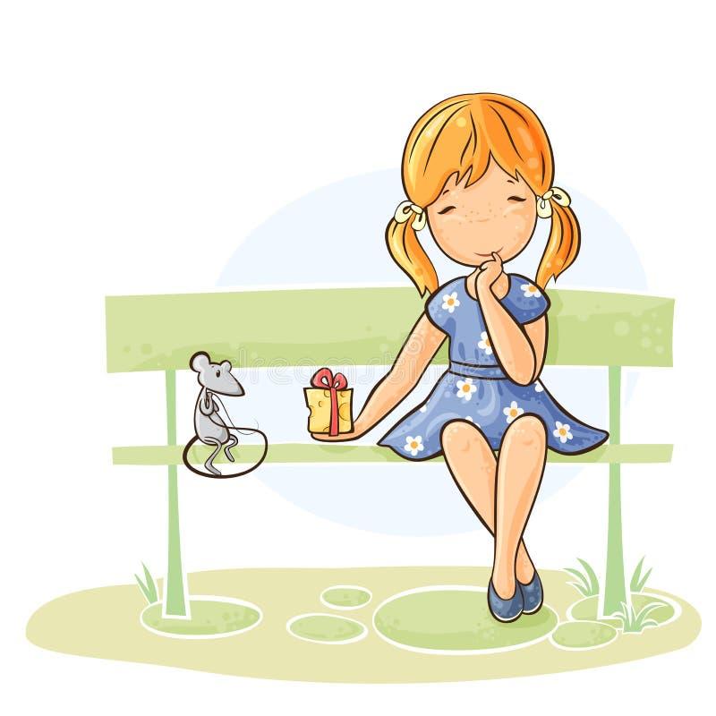 Девушка дает подарок к ее другу иллюстрация штока