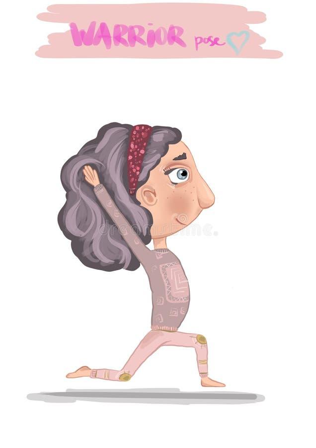 Девушка делая иллюстрацию йоги Представление ратника иллюстрация штока