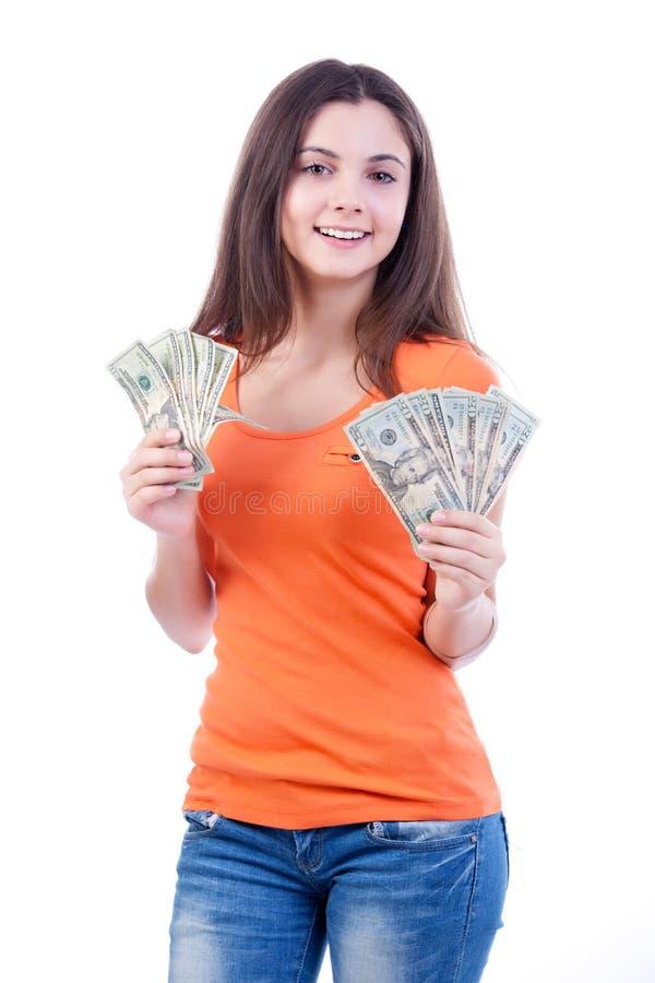 Девушка денег стоковое фото
