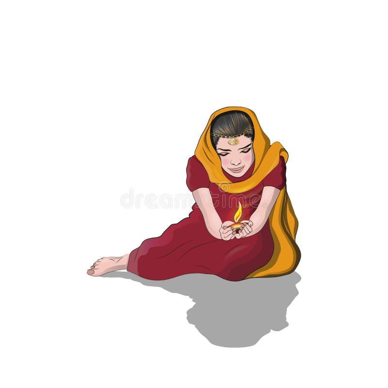 Девушка держа лампу иллюстрация вектора