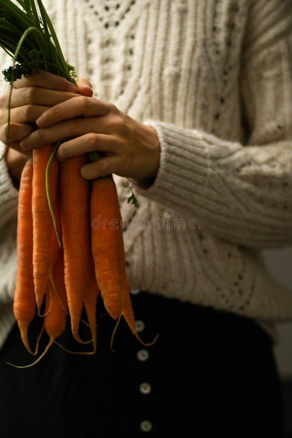 Девушка держа морковей стоковое фото