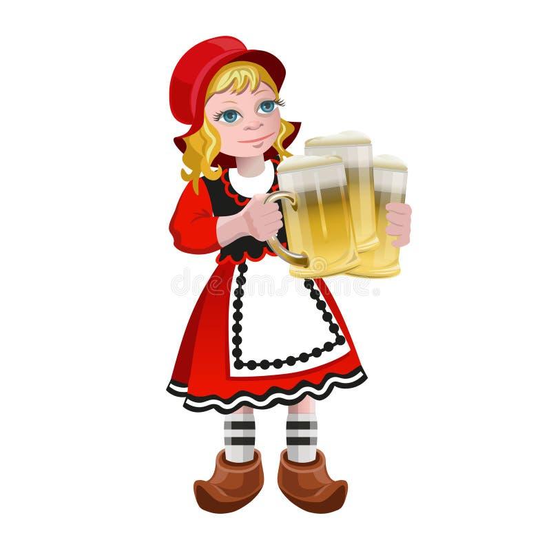 Девушка держа стекла пива иллюстрация штока