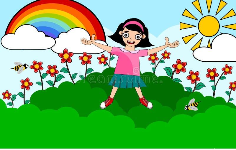 Девушка детей на лете иллюстрация штока