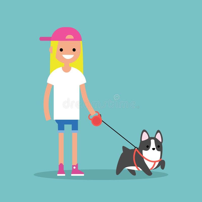 Девушка детенышей усмехаясь белокурая идя собака/плоско editable вектор иллюстрация вектора