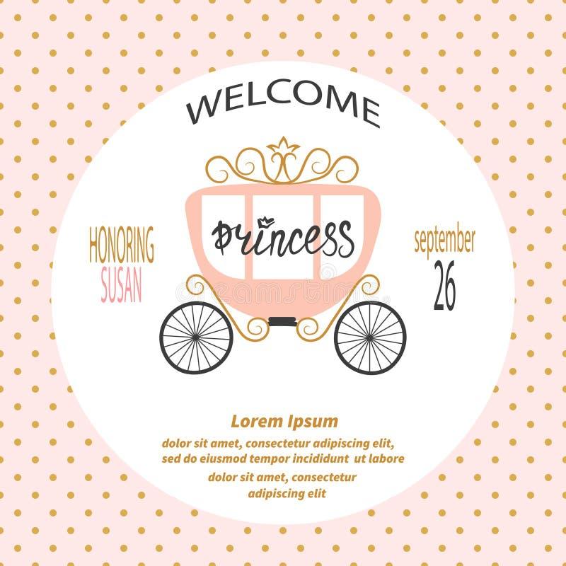 Девушка детского душа Дизайн карточки с экипажом принцессы бесплатная иллюстрация