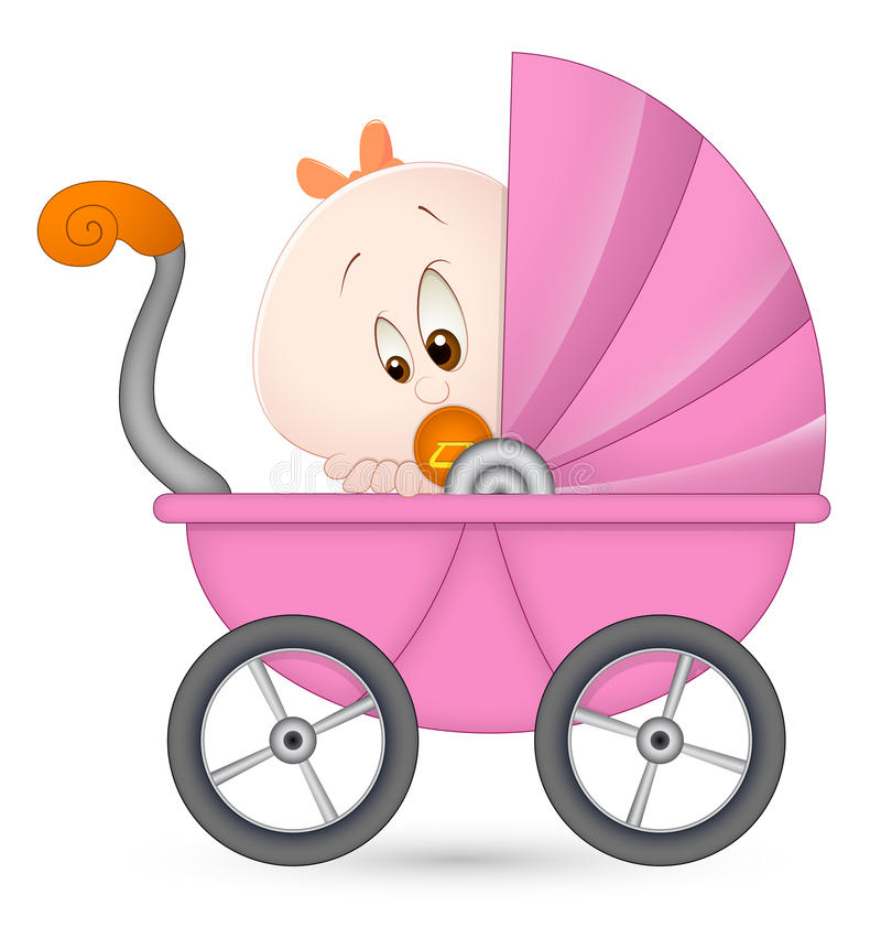 девушка детской дорожной коляски иллюстрация штока