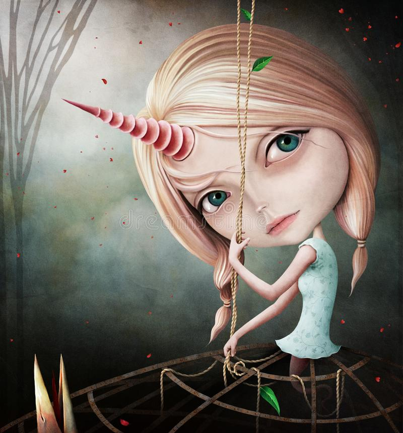 Девушка единорога иллюстрация вектора