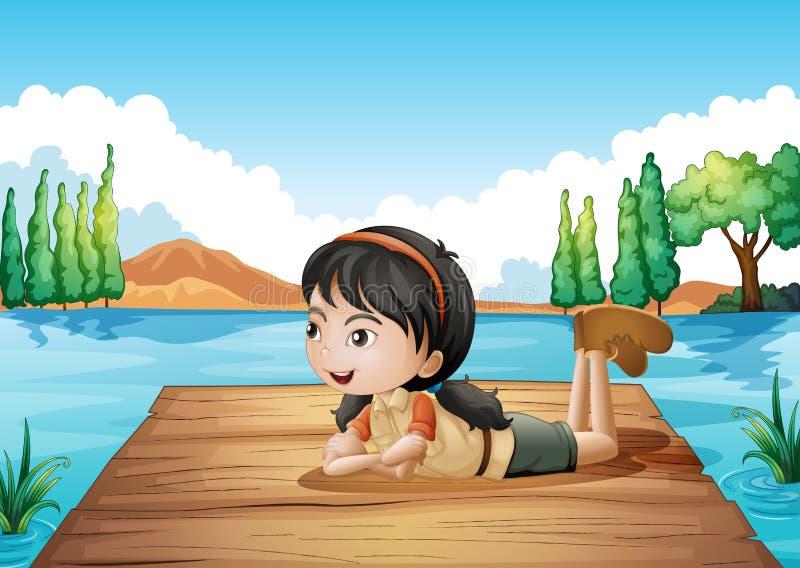 Девушка лежа на порте иллюстрация вектора