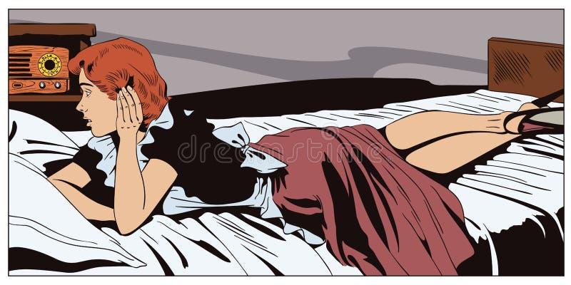 Девушка лежит на кровати слушая к радио Люди в ретро стиле бесплатная иллюстрация