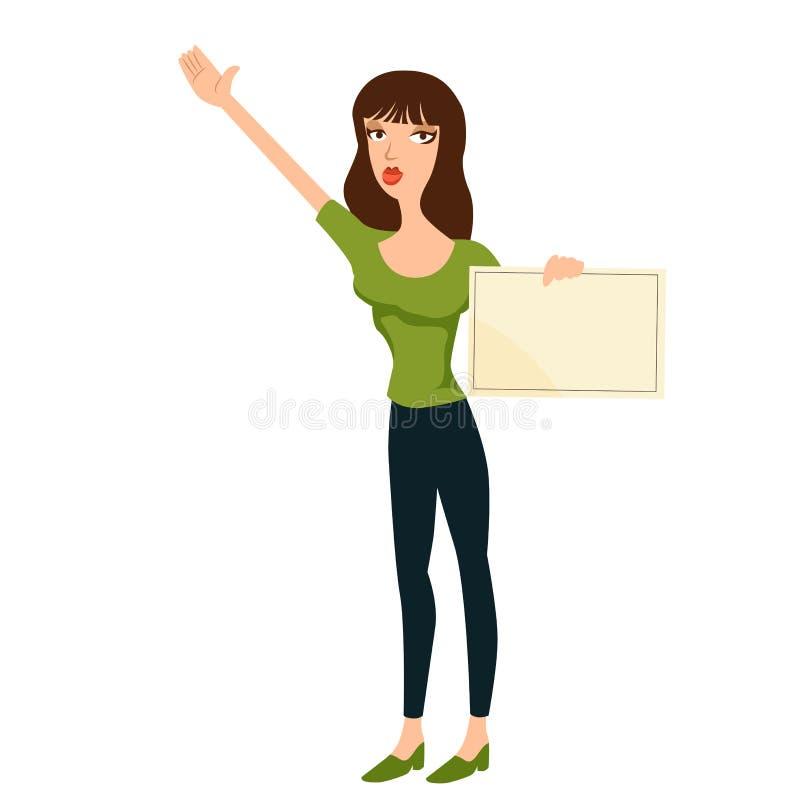 Девушка держа знак бесплатная иллюстрация