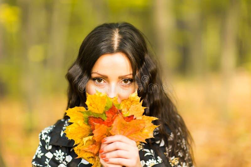 Девушка держа листья осени в парке падения стоковые фото