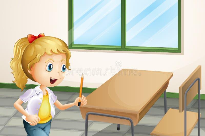 Девушка держа карандаш внутри класса иллюстрация вектора