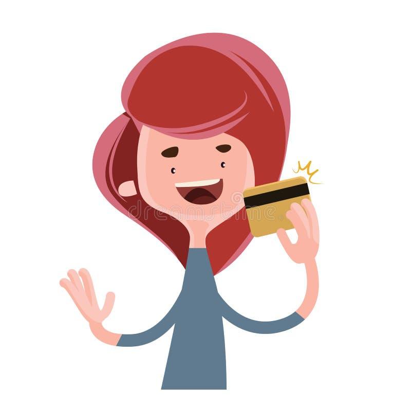 Девушка держа персонаж из мультфильма иллюстрации кредитной карточки золота иллюстрация штока