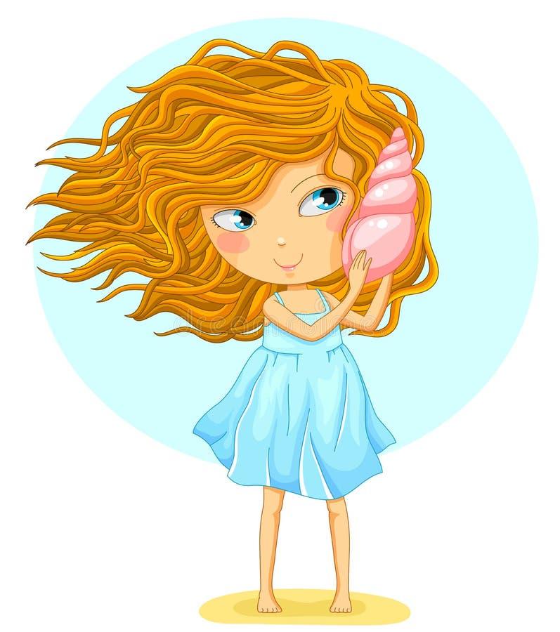 Девушка держа seashell иллюстрация штока