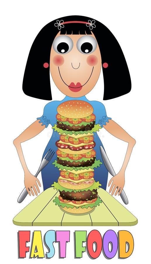 Девушка есть гамбургер иллюстрация вектора