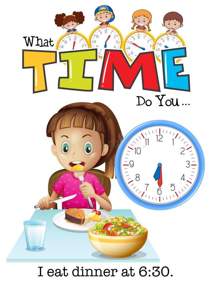 Девушка ест обедающий на 6:30 бесплатная иллюстрация