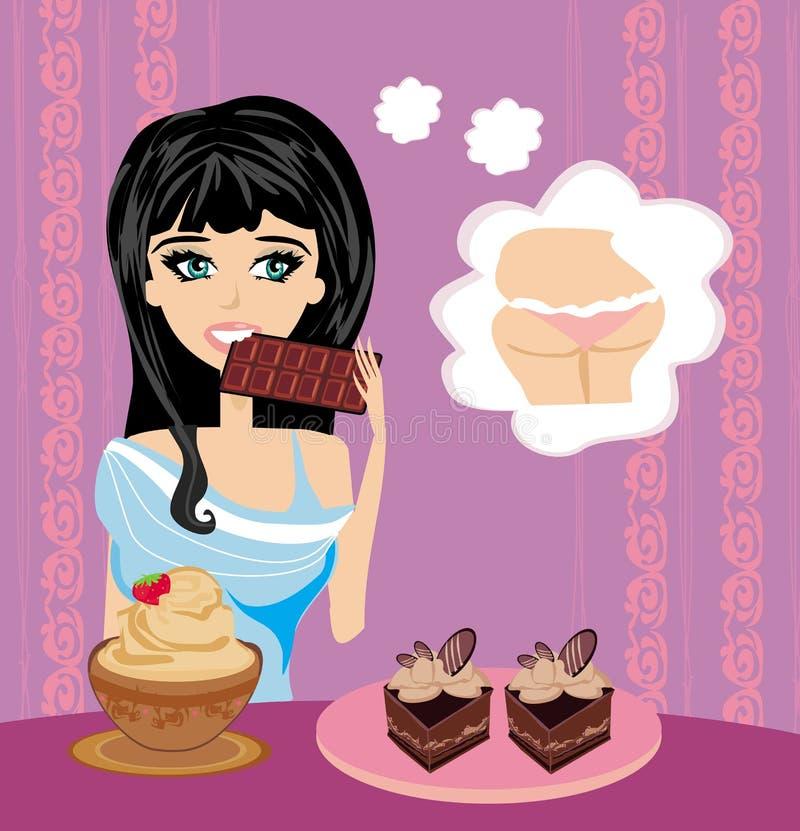 Девушка ест помадки иллюстрация вектора