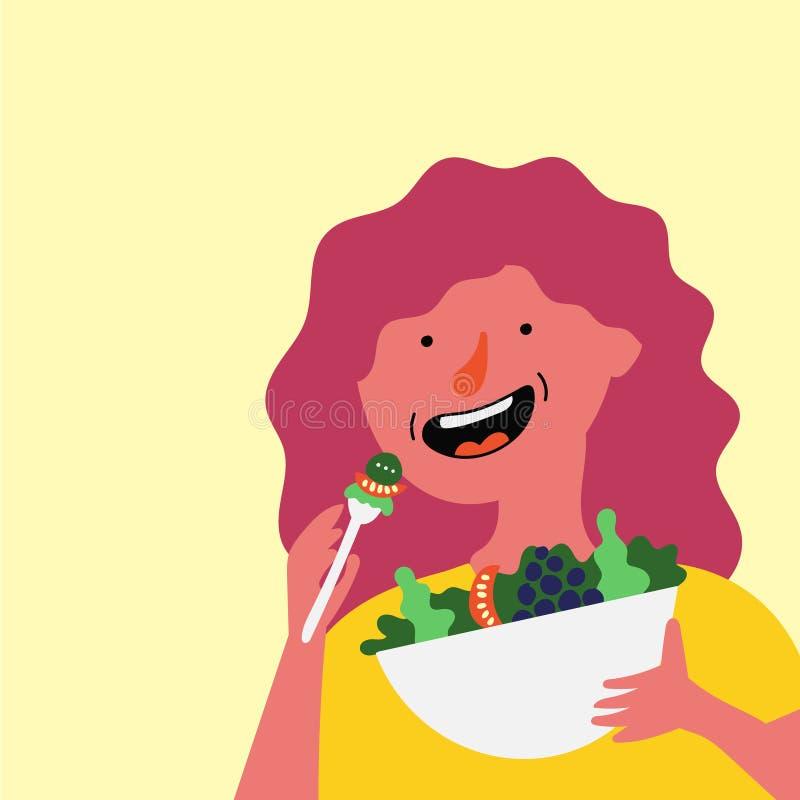 Девушка ест свежий салат иллюстрация вектора