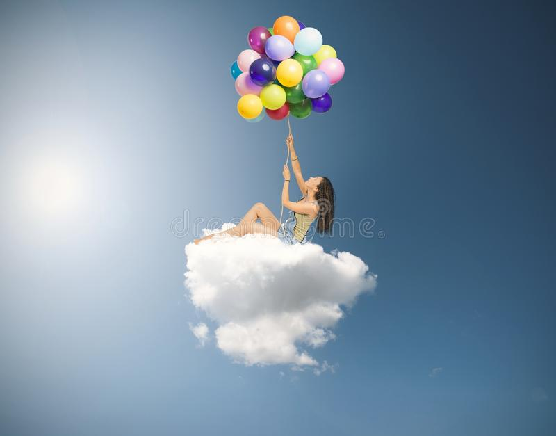 Девушка летает стоковая фотография