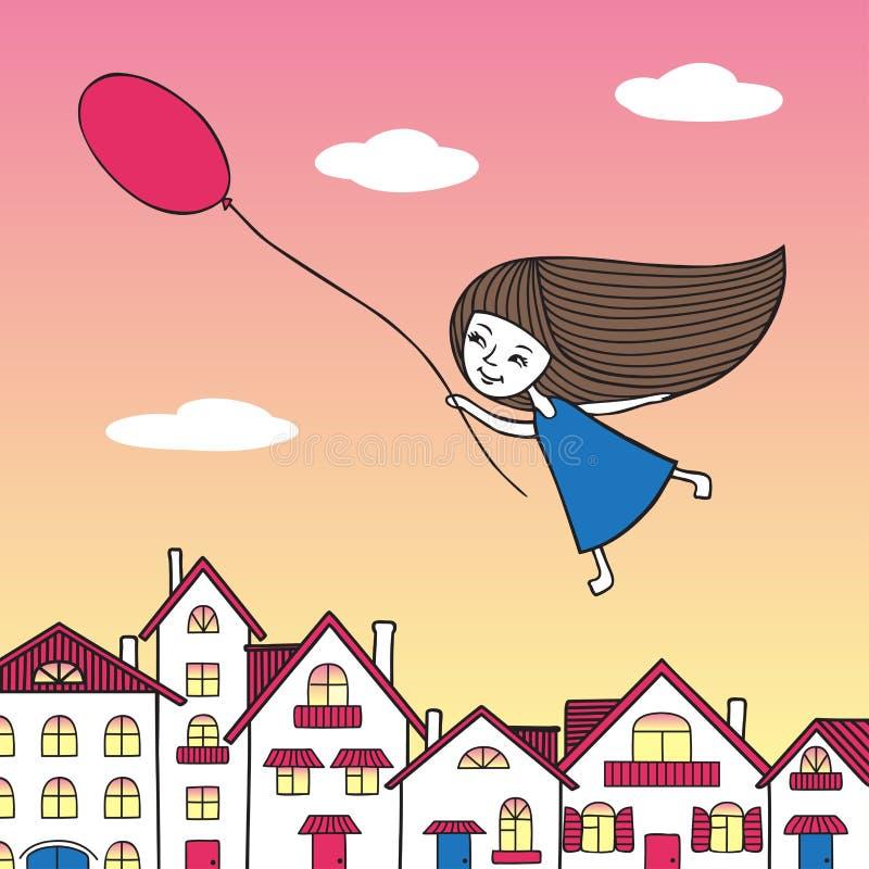 Девушка летая над городом с воздушным шаром в руке иллюстрация вектора