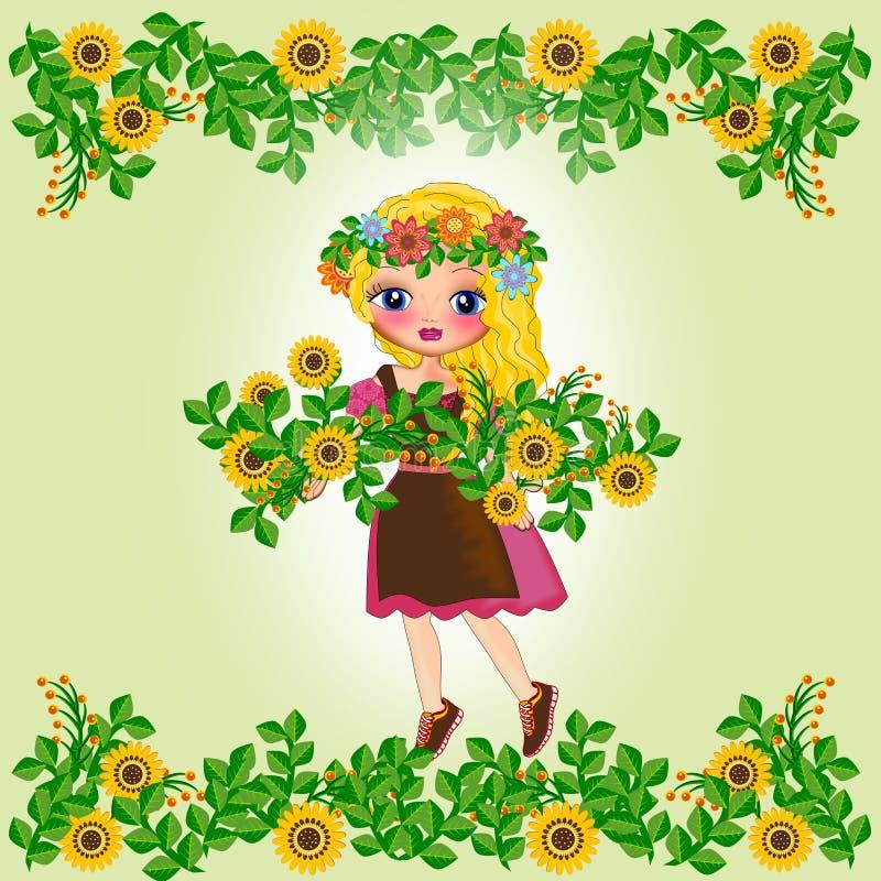 Девушка лета весны иллюстрация штока