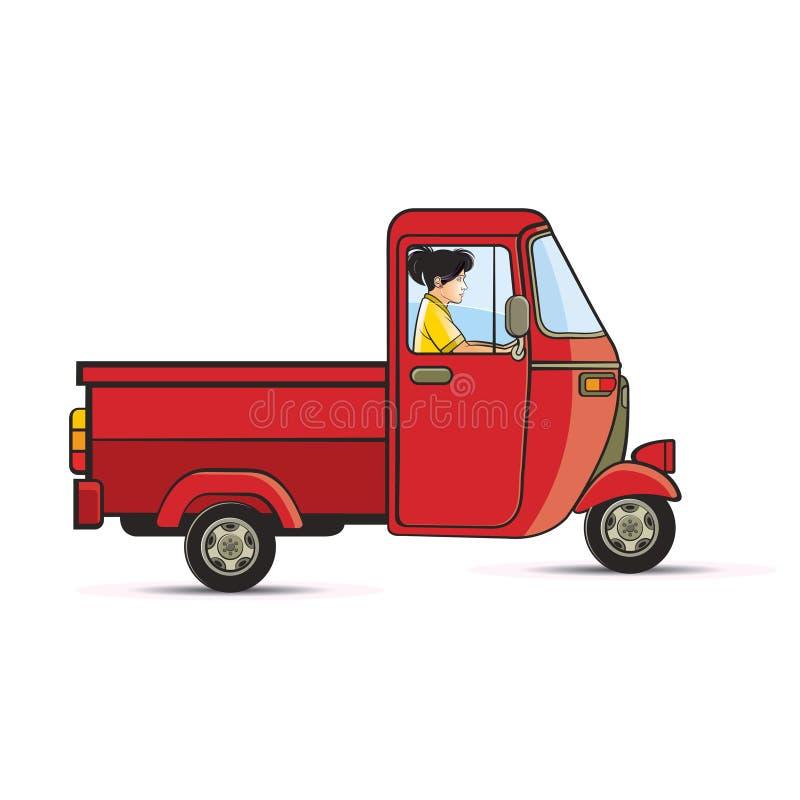 Девушка ехать Уилер красного цвета 3 иллюстрация вектора
