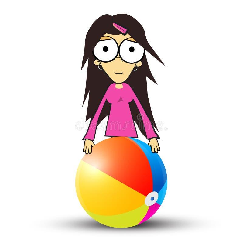 Девушка - женщина в розовых одеждах держа шарик пляжа бесплатная иллюстрация