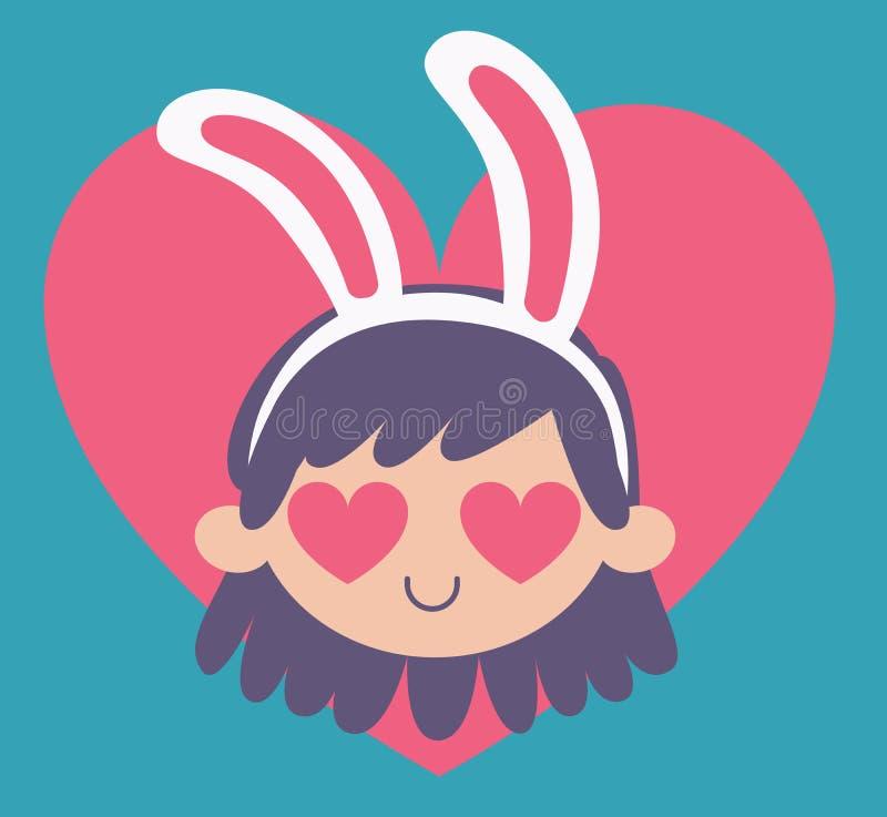 Девушка зайчика шаржа сумашедше в влюбленности иллюстрация вектора