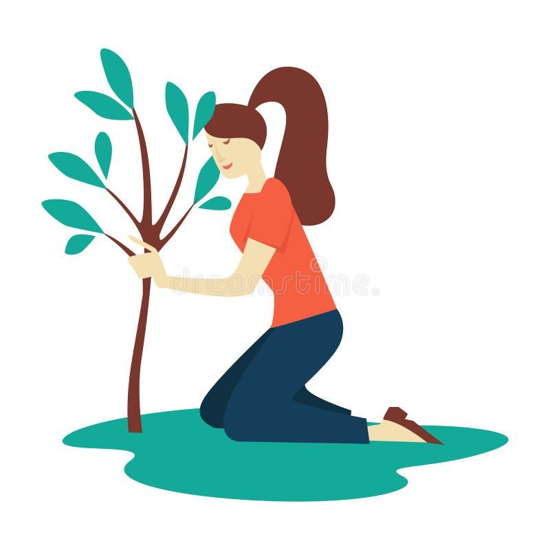 Девушка засаживая волонтера экологичности и защиты среды дерева иллюстрация штока