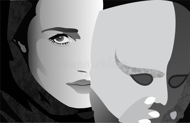 Девушка за маской бесплатная иллюстрация