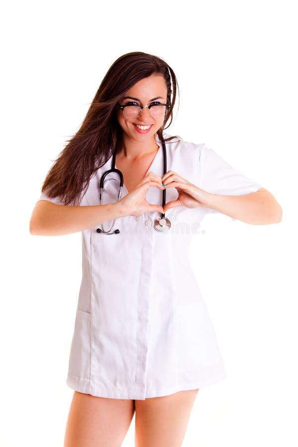 Девушка здравоохранения медицинского персонала Doktor изолированная на белой предпосылке стоковое изображение rf