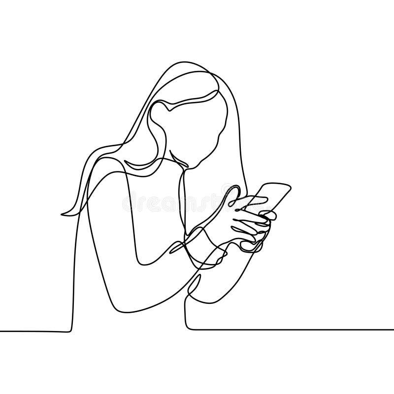 Девушка играя и используя линию чертеж умного телефона непрерывную Одно lineart вектора концепции связи женщин с мобильным устрой иллюстрация вектора