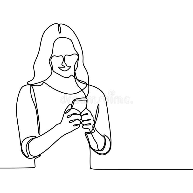 Девушка играя и используя линию чертеж умного телефона непрерывную Одно lineart вектора концепции связи женщин с мобильным устрой бесплатная иллюстрация