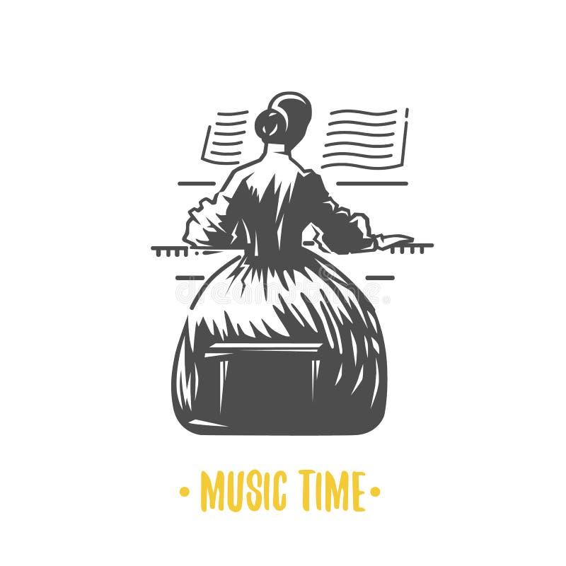 Девушка играя рояль - предпосылку для музыкального концерта иллюстрация штока