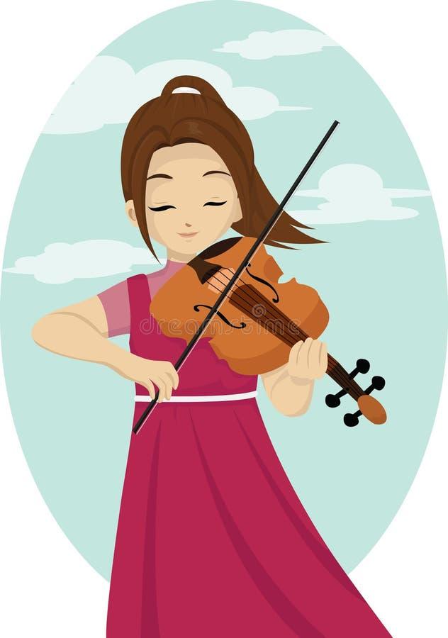 Девушка играя скрипку иллюстрация штока