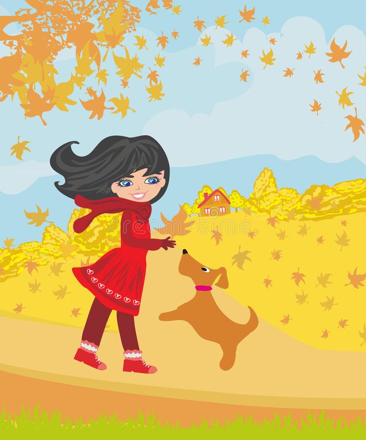 Девушка играя с ее собакой в осени бесплатная иллюстрация