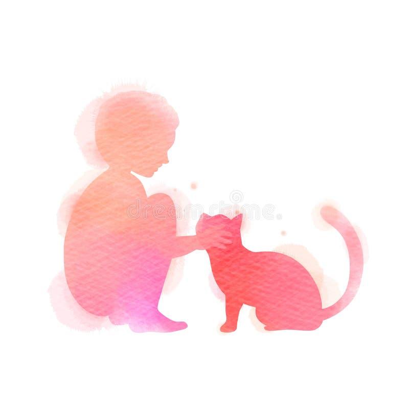 Девушка играя с силуэтом кота на предпосылке акварели Концепция доверия, приятельства и заботы любимца r иллюстрация штока