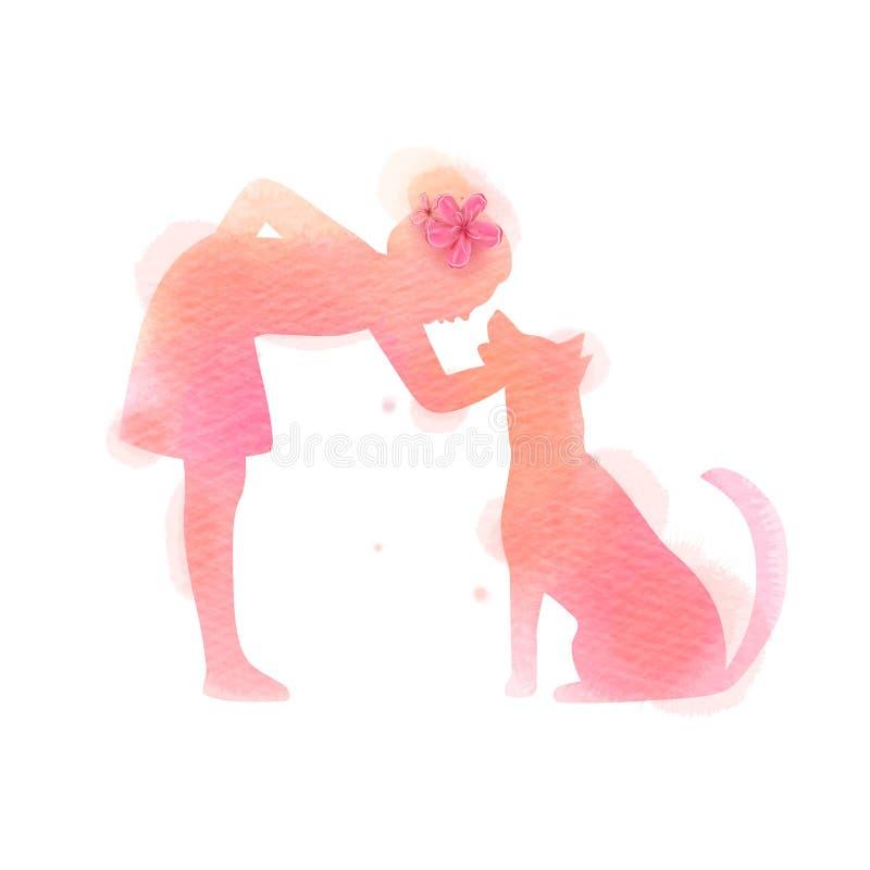 Девушка играя с силуэтом собаки на предпосылке акварели Концепция доверия, приятельства и заботы любимца r бесплатная иллюстрация