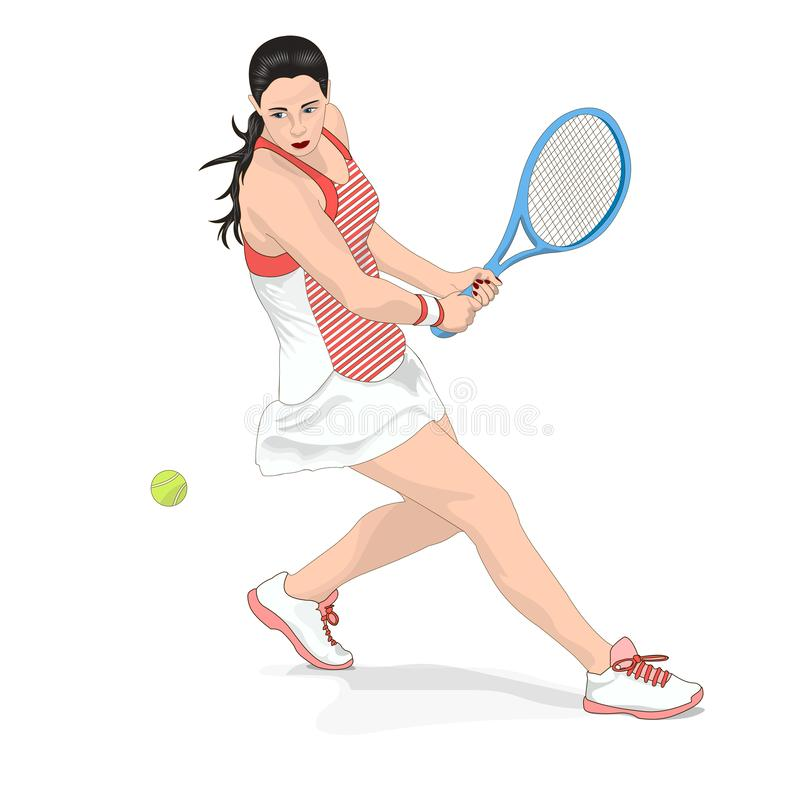 девушка играя теннис Изображение вектора на белой предпосылке иллюстрация штока