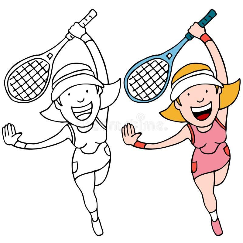 девушка играя теннис иллюстрация штока