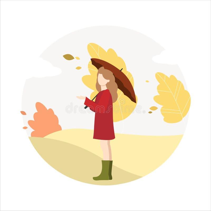 Девушка идет в парк в осени бесплатная иллюстрация